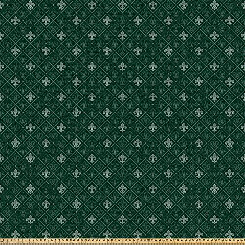 ABAKUHAUS Fleur De Lis Microfaser Stoff als Meterware, Alter Barock, Deko Basteln Polsterstoff Textilien, 2M (230x200cm), Salbeigrün