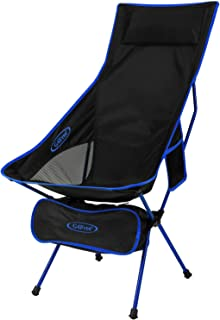 G4Free Upgraded Lightweight Portable Camping Chair Outdoor Folding Backpacking High Back Camp Lounge Chairs with Headrest & Pocket for Sports Picnic Beach Hiking Fishing