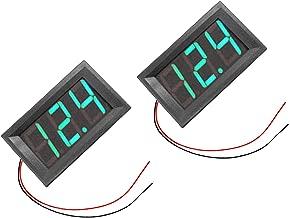 RuiLing 2-Pack Two Wires Mini LED Digital Voltmeter Voltage Meter DC 5V to 30V Voltage Panel Meter for 6V 12V Electromobile Motorcycle Car Green