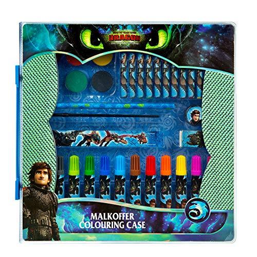 Undercover DRRA4292 - Malkoffer mit Wachsmalkreiden, Fasermalern, Wasserfarben, Radierer, Spitzer, Lineal und Bleistift, Dreamworks Dragons mit Ohnezahn und Hicks
