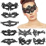 MMTX Lace Masquerade Mask, 8 Piezas Estilo Veneciano Elegante Mascarade Eyemask Mujeres Lady Girl Sexy Eye Mask para Halloween San Valentín Fiesta de Carnaval Baile de Disfraces, Negro