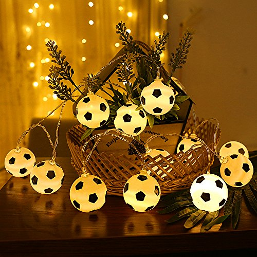 20 luces LED de hadas de fútbol - ELINKUME® 2M/6.56ft con pilas blancas cálidas luces de cadena de fútbol para fiesta temática, decoración del hogar, regalos, Festival