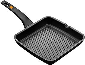 BRA Efficient - Grill Asador con Rayas, Aluminio Fundido con Antiadherente Platinum Plus, Apto para Todo Tipo de Cocinas Incluido Inducción, Libre de PFOA, Negro, 28 x 28 cm