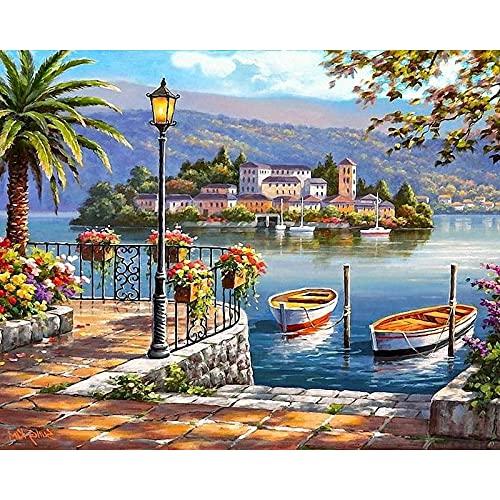Pintura por números para colorear pintura de paisaje cuadro de lienzo pintura al óleo por número mar pintado a mano adultos decoración del hogar W15 60x75cm