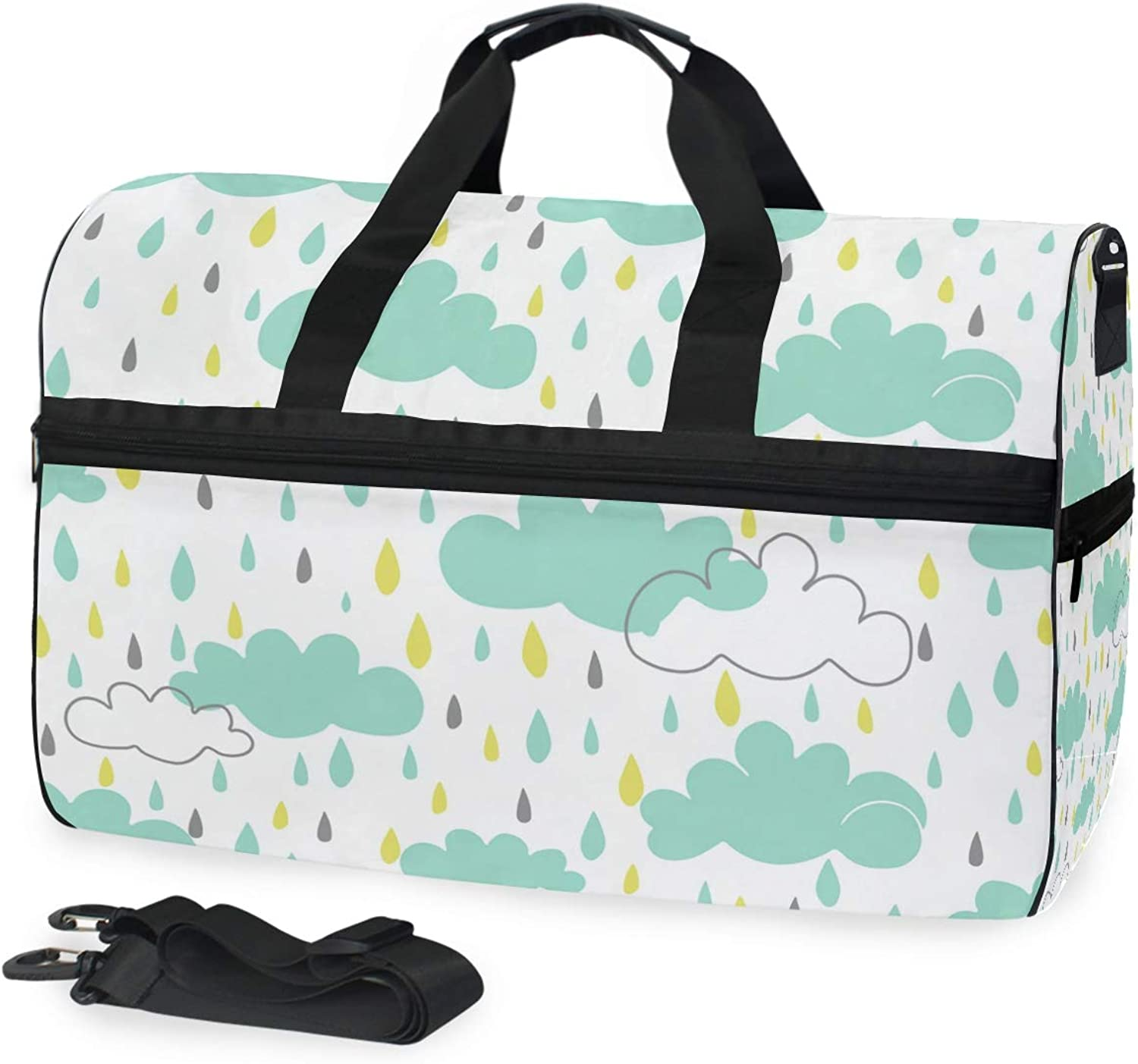 FANTAZIO Cute Rainning Sports Bag Packable Travel Duffle Bag, Lightweight Water Resistant Tear Resistant