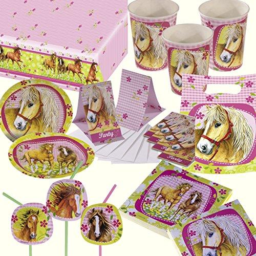 101-tlg. Party-Set * PFERDE & PONYS * für Kindergeburtstag mit 8 Kinder: Teller, Becher, Servietten, Tischdecke, Einladungen, Partytüten, Papier-Trinkhalme, Luftballons, Luftschlangen, uvm | Deko Geburtstag Party