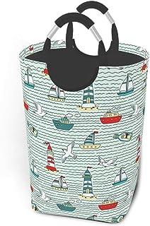 Dessin animé mouette navire phare panier à linge pliable tissu panier à linge grand portable sale vêtements sacs de rangem...