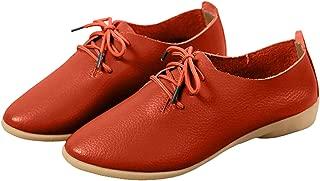 WenHong Women's Shoe Classic Lace Up Dress Low Flat Heel Oxford