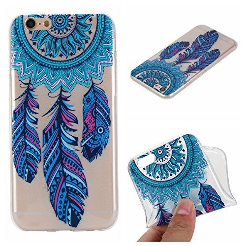 E-Mandala kompatibel mit iPhone 7 Plus 8 Plus Hülle Ultra Dünn Slim Durchsichtig Silikon Schutzhülle Handy Tasche Etui Handyhülle Transparent mit Muster - Feder Campanula Traumfänger