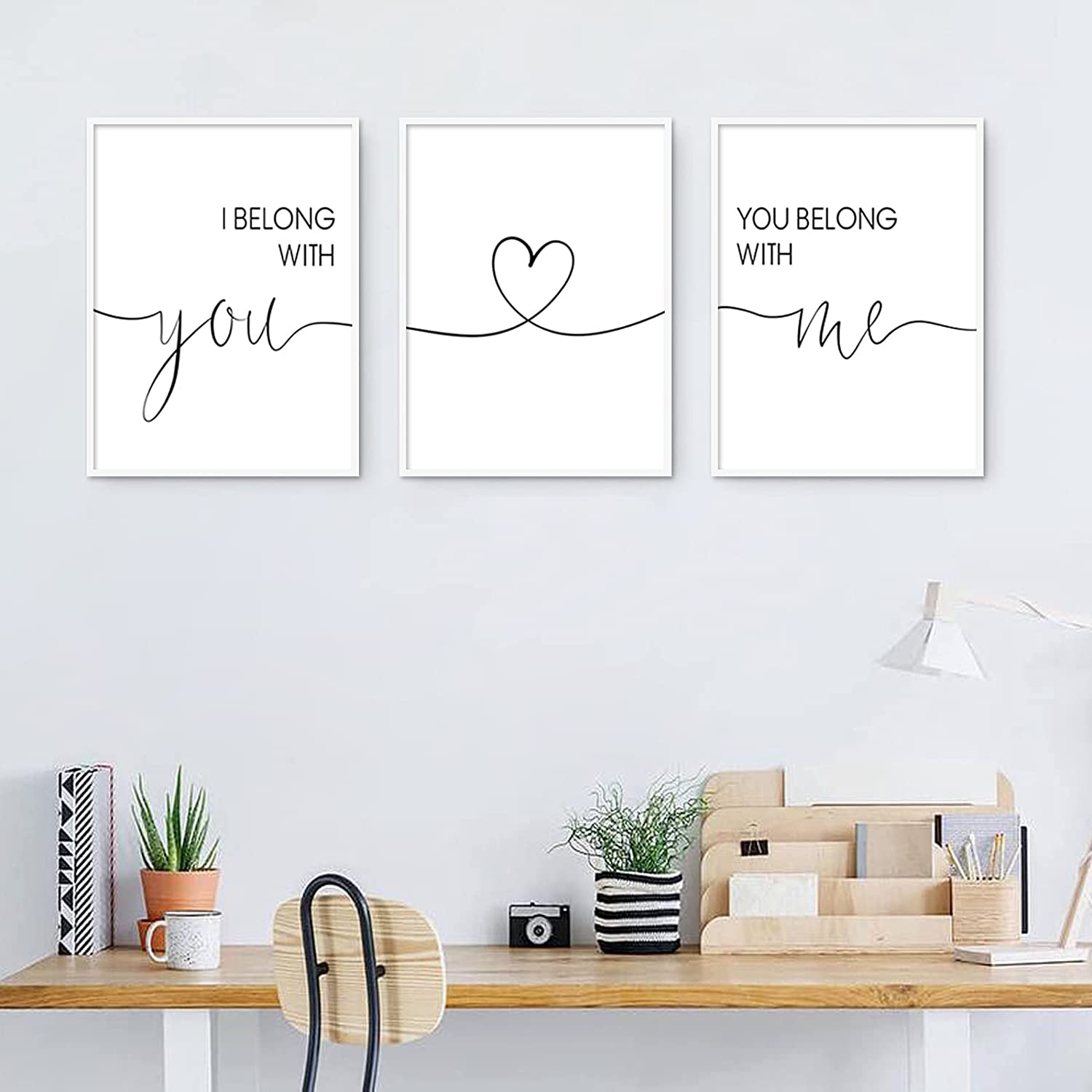 I Belong with You You Belong with Me Wall Art Minimalist Canvas Wall Art Love Quotes Wall Picture Decor Minimalist Painting Couples Love Wall Art for Bedroom Living Room Decor 12x16x3 Inch Unframed