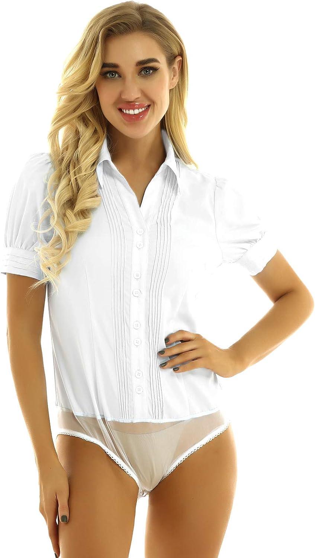 TSSOE Womens Short Sleeve Button Down Formal Office Shirt Bodysuit Blouse Shirts Casual Work Wear