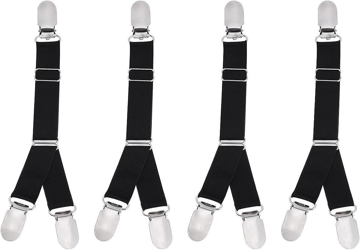 TiaoBug 2/4 Pcs Unisex Duck-mouth Elastic Garter Belt Shirt Stay Sock Holder Fastener Y Style or I Style