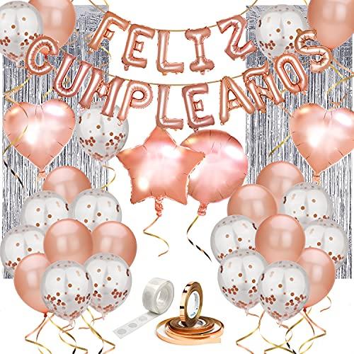 Set de decoración cumpleaños 80 piezas ORO ROSA, con pancarta de letras inflables FELIZ CUMPLEAÑOS en español, globos de latex rellenos de confeti, estrellas y corazones, cinta para globos, y adhesivo