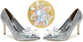 QTMY 1 Pair Crystal Flower Shoe Decoration Accessories for Women Wedding DIY Crafts Findings (Crystal Shoe Clips)