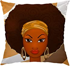 HGOD DESIGNS African Pillow Case,Beautiful African Black Woman Satin Cushion Cover Square Standard Home Decorative for Men/Women 18x18 inch Brown
