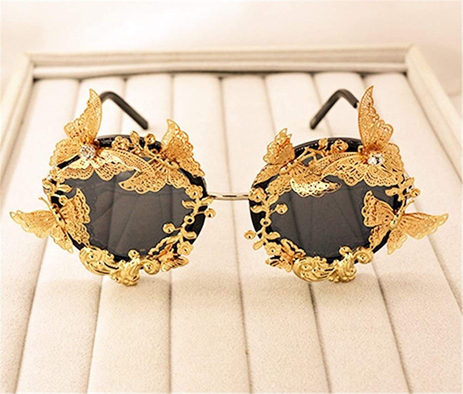 Tridimensional golden Butterfly Carve Patterns Baroque Sunglasses,Ball &Party Decoration Sunglasses for Women & Girls Jewelry Gift