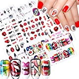 9 Sheets Nail Art Stickers Decal Nail Accessories Water Transfer Nail Decals Funny Sexy Mouth Lips Cool Girls Rose Nail Sticker for Women Girls DIY Nail Art Decorations Manicure Nails Art Supplies