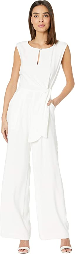 Crepe Jumpsuit with Side Tie and Extended Shoulder