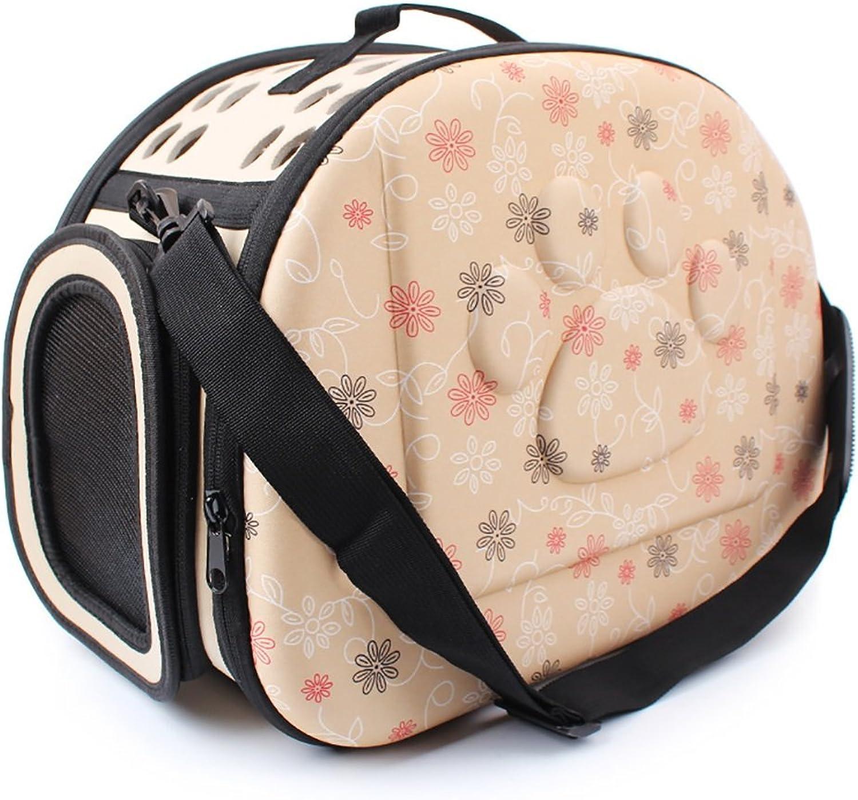 LongYu Pet Backpack,Travel Carrier Shoulder Bag Folding Printed Footprints Portable Kennel Breathable Outdoor Puppy Cat Dog Bag 3 color (color   Champagne)