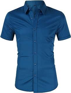Mens Dress Shirt Button Down Shirts Casual Slim Fit Bamboo Fiber Elastic Office Wedding Working Shirt