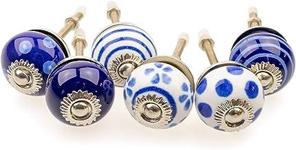 Möbelknopp möbelknopp möbelhandtag uppsättning av 6 KLEIN 090GN_SM prickar cirklar avtryck vit mörk blå – jay knapp kerami...