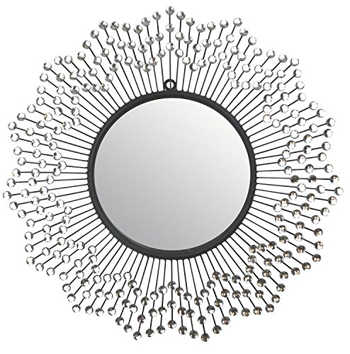 "LuLu Décor, Celebration Metal Wall Mirror, Frame 24"", Round Decorative Mirror for Living Room and Office Space"