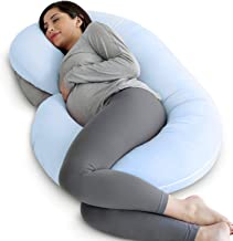 PharMeDoc Pregnancy Pillow with Jersey Cover, C Shaped Full Body Pillow (Light Blue)