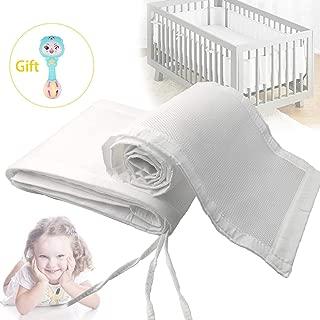 Baby Crib Bumper,Safe Breathable Crib Bumper Pads for Cribs Machine,White Mesh Crib Bumper for Full-Size Crib Breathable Mesh (White)