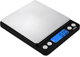 AMIR Digital Kitchen Scale 500g/ 0.01g Pro Cooking scale with Back-Lit LCD Display Accuracy Pocket Food Scale 6 Units Auto Off Tare PCS Function Stainless Steel Batteries not included (Black)