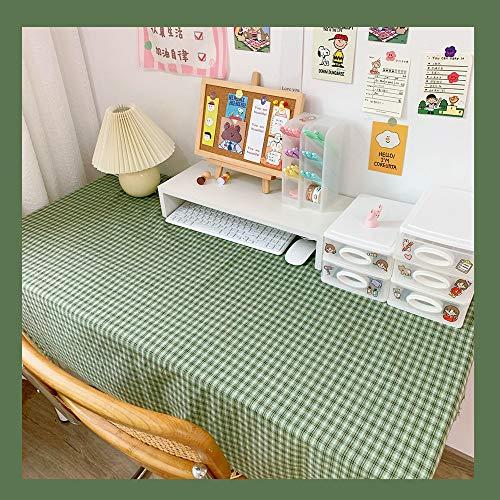 テーブルクロス ギンガムチェック 約100*114cm 食卓カバー 綿麻 生地 吸水 耐熱 簡約 田園風 多機能 グリーン