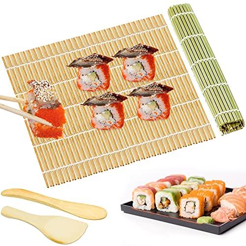 4 Pezzi Kit per Arrotolare il Sushi in Bambù, Tappetini in Bambù per Sushi 2 x Stuoie, 1 x Pala per Riso, 1 x Spargi Riso per Principianti e Esperti