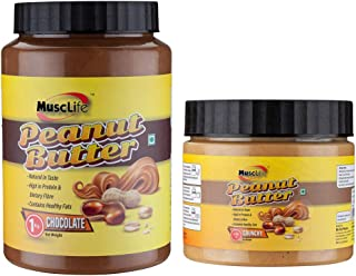 Musclife Chocolate Peanut Butter 1Kg And Crunchy Peanut Butter 340gms(Combo)