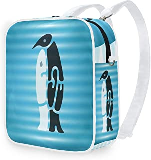 DEZIRO - Mochila de hombro, diseño de pingüino, color blanco y negro