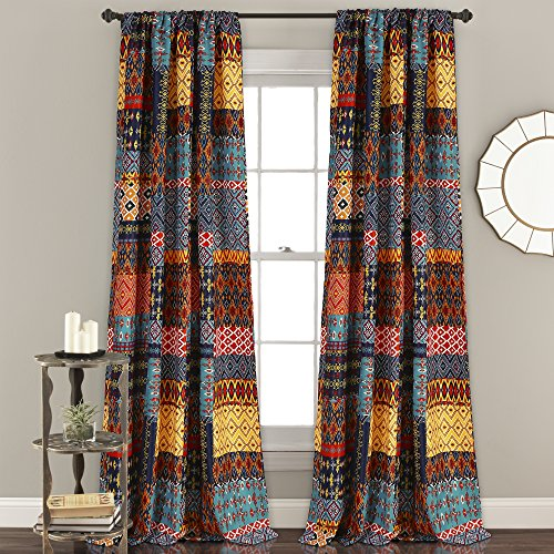 "Lush Decor, Multicolor Misha Room Darkening Window Curtain Panel Set, 84"" x 52"""