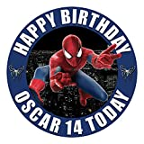 Superhero Spiderman Cake Topper 7.5 Inch Personalised Edible on Icing Sheet with HI-RES Image