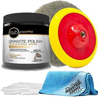 "MB Stone Care Granite Polishing Compound 8.5 oz - Norton Ultra Grizzly Pad 7-3/4 Inch - 7"" Backer Pad - 16 x 16 Microfiber Cloth - Gloves - BUNDLE - 5 Items"