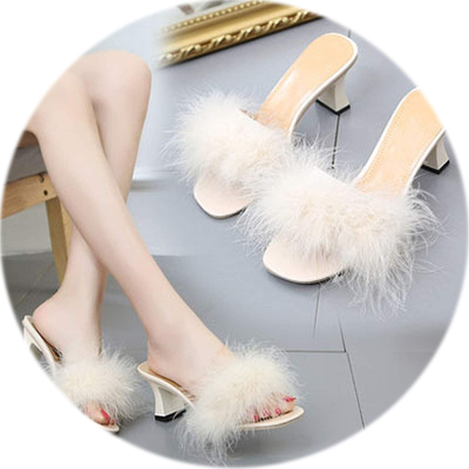New Fur Furry Ostrich Feather Thick Heels Slippers Slides Fashion Ladies shoes Flip Flops Sandals Sexy Party shoes