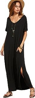 MAKEMECHIC Women's Casual Loose Pocket Long Dress Short Sleeve Split Maxi Dress