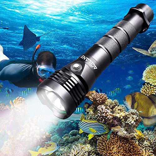 Acelane, Torcia Subacquea per Immersioni, 80 m, 2000 Lumen, Impermeabile, con Batteria...