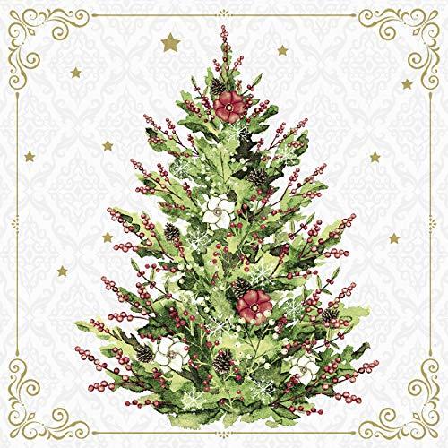 Servietten (2er Set / 40Stück) 3-lagig 33x33cm Xmas Weihnachten Weihnachtsbaum klassisch