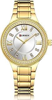 Curren 9004 Quartz Movement Stainless Steel Strap Round Analog Gold, White Watch for Women