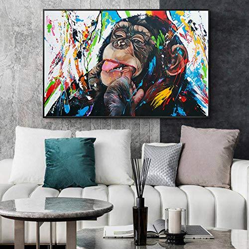 zqyjhkou 5D diamond painting round diamond monkey biting finger full diamond painting rhinestone embroidery DIY 40x50cm Frameless