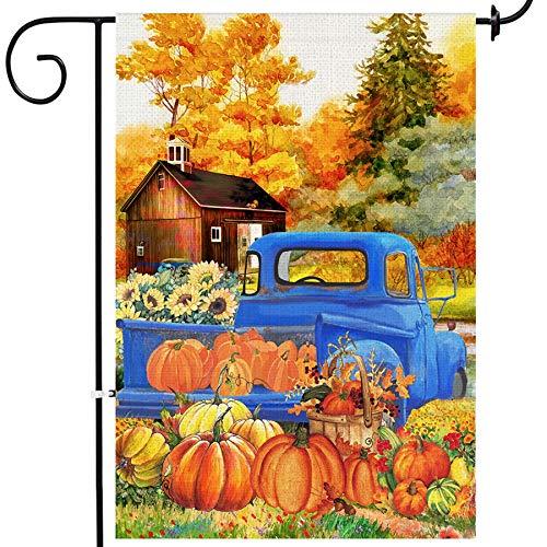 Bandeira de jardim de estopa de outono de árvore Bonsai, abóboras de folhas de outono duplas de folhas de outono, bandeiras de girassóis de caminhão de manto de outono, decorações de jardim de fazenda