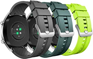 MoKo 3-Pack Band Compatible with Huawei Watch GT 2019 46mm/Watch GT Active/Watch 2 Pro/Honor Watch Magic/Samsung Galaxy Watch 46mm/Gear S3, Soft Silicone Replacement Strap, Gray/Army Green/Lime