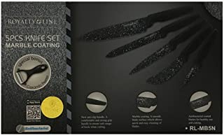 Royalty Line - Set 5pz coltelli da Cucina + pelapatate Rivestito in Ceramica con Manico Scuro - RL-MB5N - Pane, Carne, spi...