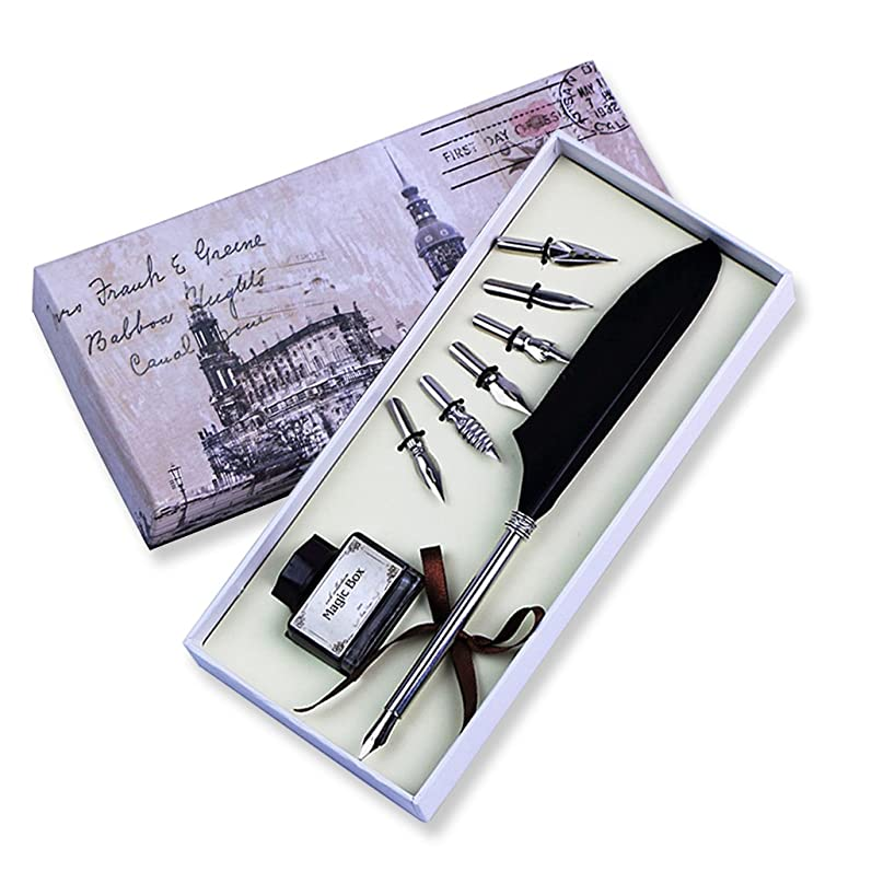 FUNRUI Vintage Feather Pen Set Antique Writing Feather Quill Dip Pen Calligraphy Quill Fountain Pen with Empty Ink Bottle and 6 Pcs Metal NIB Set (Black)