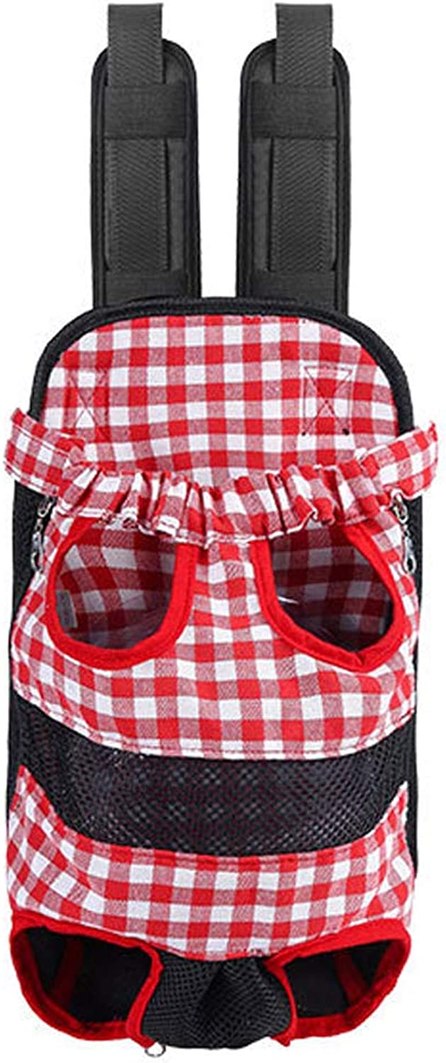 Pet Bag Panoramic Window Open Elastic Neckline Strong and Sturdy Travel Camping Dog Cat Pet Bag,Red,XL