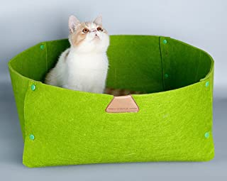 JPTACTICAL Felt Wool Pet Bed   Solid Color Cats Bed Dog Bed  Used as Both Cozy Dog/Cat Caves and Pet Blanket   for Cat Rabbit,Teddy Dog,Schnauzer,Bichon. (Green)