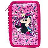 Minnie Mouse - Astuccio Scuola 3 Zip Minnie - TOPOLINA - Completo di 44 Pezzi - Prodotto Ufficiale Disney (Rosa)