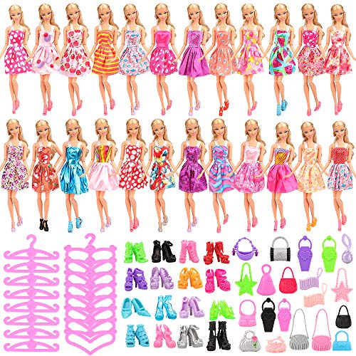 Barwa Lot 60 Pcs Doll Clothes Accessories 15 Handmade Outfit Mini Dresses + 45 Different Accessories Shoes Hangers Handbags for 11.5 Inch Girl Doll